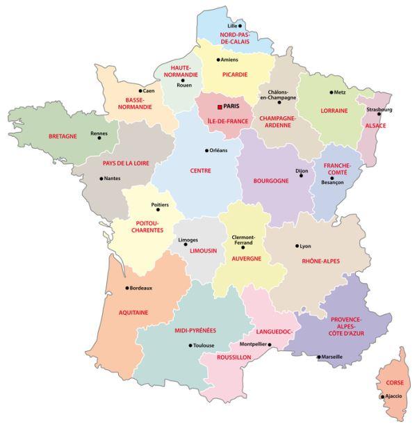 Cartes des régions France métropolitaine