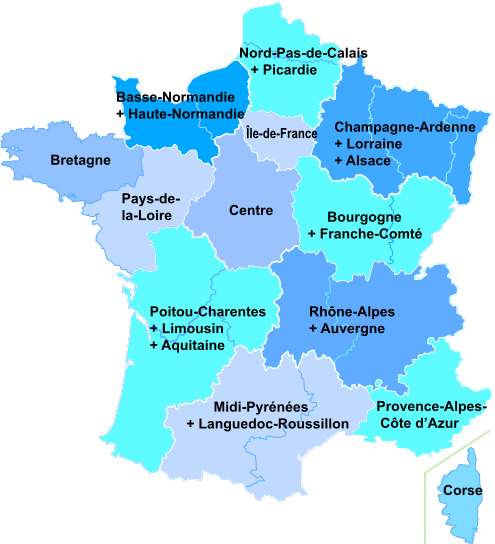 carte de france 2016 region
